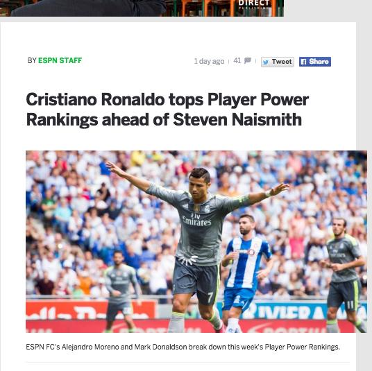 【サッカー英語コラム】[サッカーニュースを読んでみよう ~Player Power Ranking C・ロナウド編~]