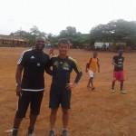 Visiting my assistant coach, Yaw Preko's home football ground  自分のアシスタントコーチのヤウ・プレコ氏のホームグラウンドに行ってきました